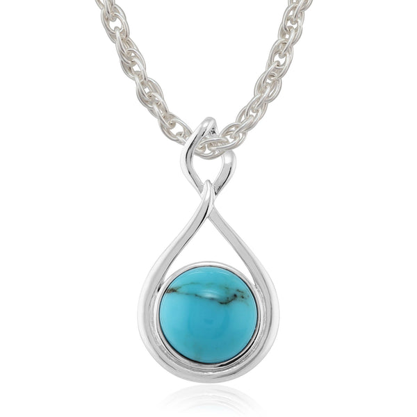 Modern Turquoise Cabochon Pendant on Chain Image 1