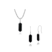Geometric Black Onyx al Prism Drop Earrings & Necklace Set Image 1