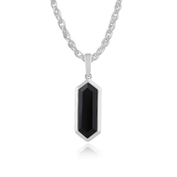 Geometric Black Onyx al Prism Drop Earrings & Necklace Set Image 4