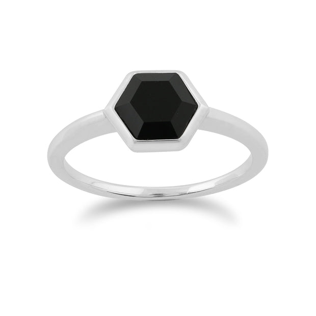 Geometric Black Onyx Hexagon Ring Image 1