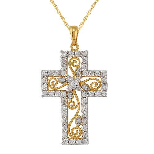18ct Yellow Gold Diamond Cross Necklace Image 1