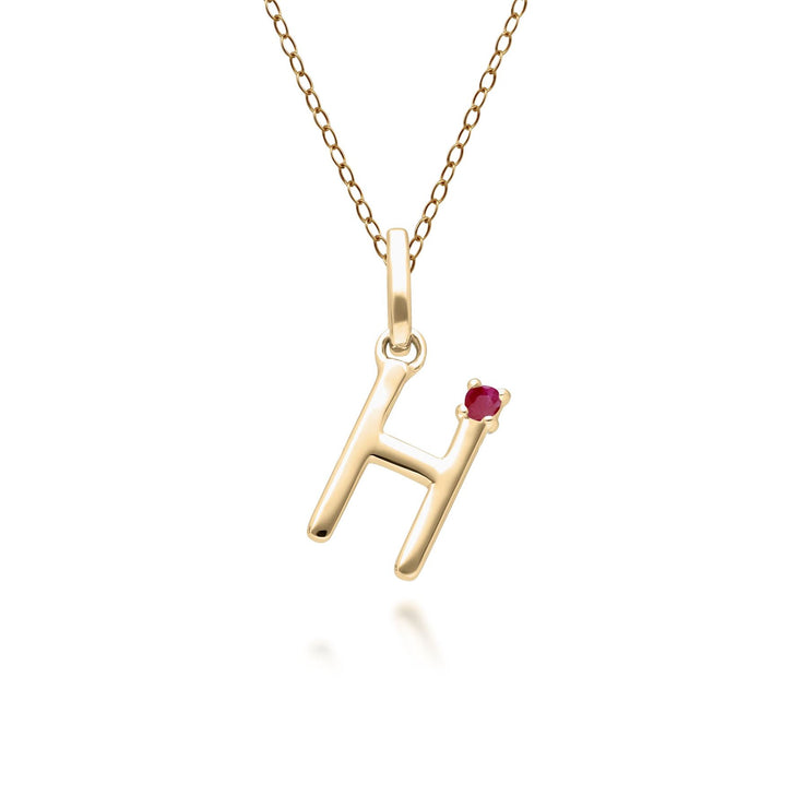 Initial H Ruby Letter Necklace in 9ct Yellow Gold