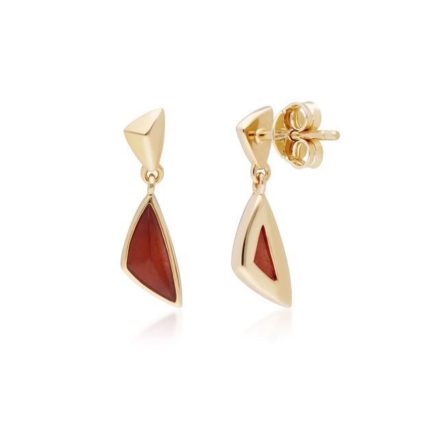 Micro Statement Dyed Red Jade Drop Earrings in Gold Plated Sterling Silver