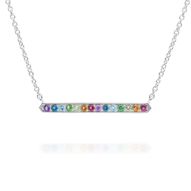 Rainbow Gemstone Bar Necklace in 925 Sterling Silver
