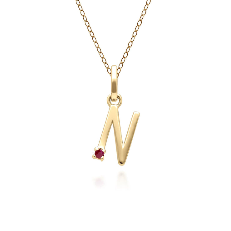 Initial N Ruby Letter Necklace in 9ct Yellow Gold