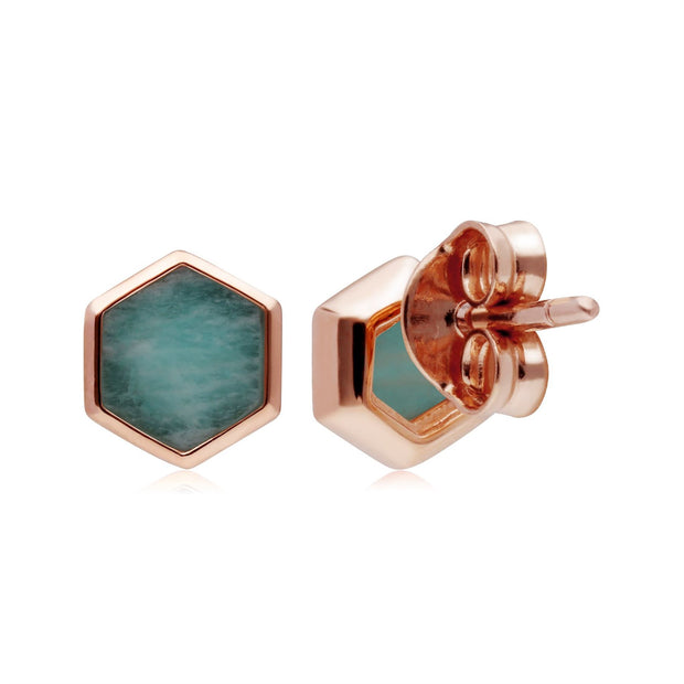 Micro Statement Amazonite Stud Earrings in Rose Gold Plated 925 Sterling Silver