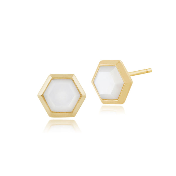 Geometric Hexagon Mother of Pearl Stud Earrings in Gold Plated Silver