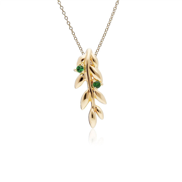 O Leaf Tsavorite Pendant & Stud Earring Set in Gold Plated 925 Sterling Silver