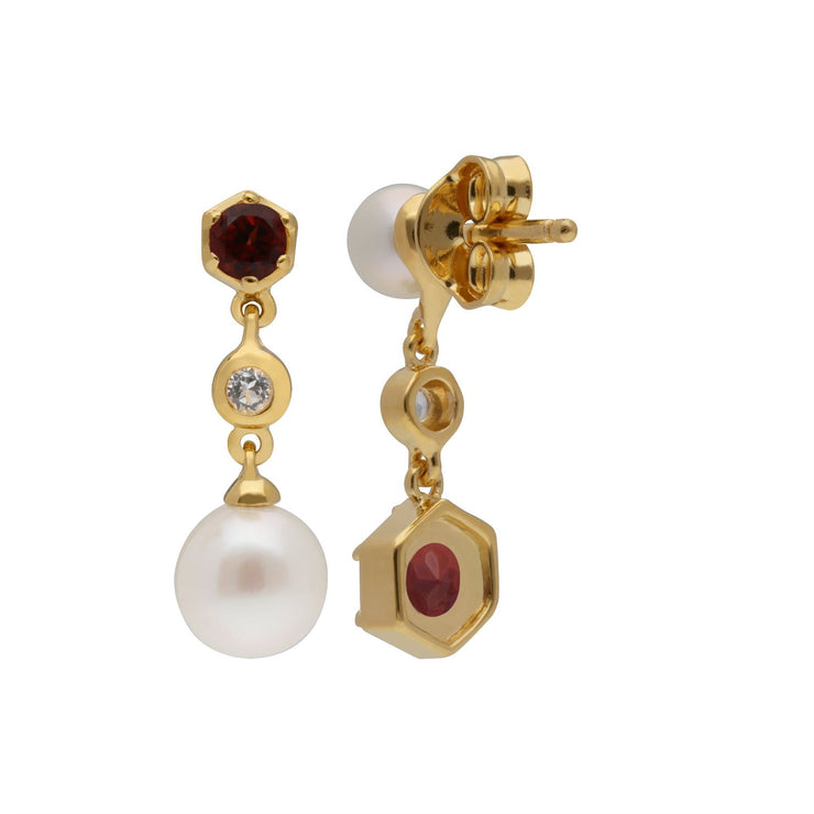 Modern Pearl, Garnet & Topaz Mismatched Drop Earrings in Gold Plated Sterling Silver