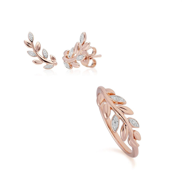 O Leaf Diamond Stud Earring & Ring Set in 9ct Rose Gold