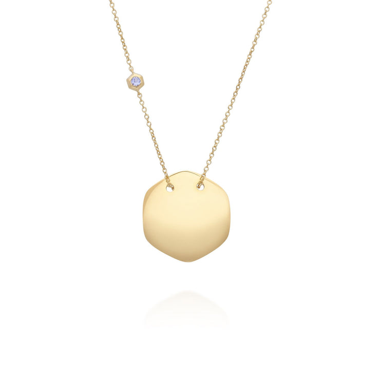 Tanzanite Engravable Necklace in Yellow Gold Plated Sterling Silver