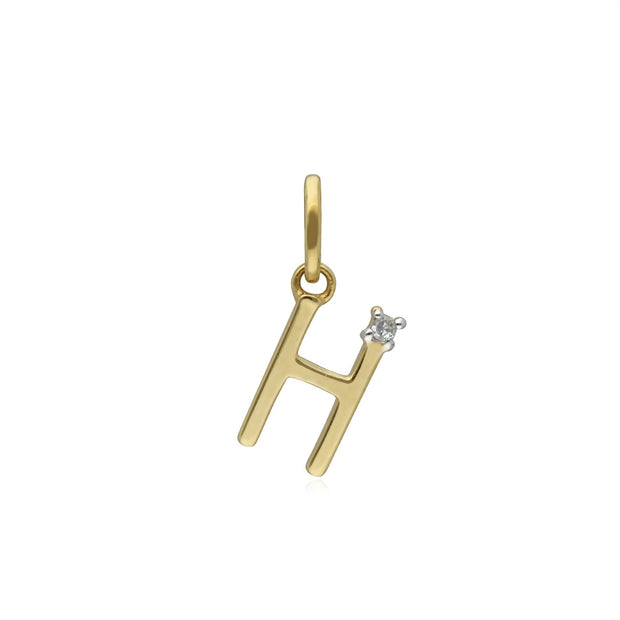 Initial H Diamond Letter Necklace in 9ct Yellow Gold