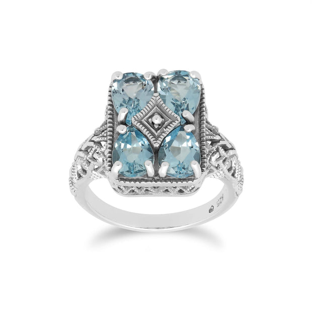Art Nouveau Inspired Blue Topaz Statement Ring in 925 Sterling Silver