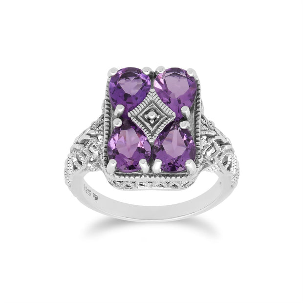 Art Nouveau Inspired Amethyst Statement Ring in 925 Sterling Silver