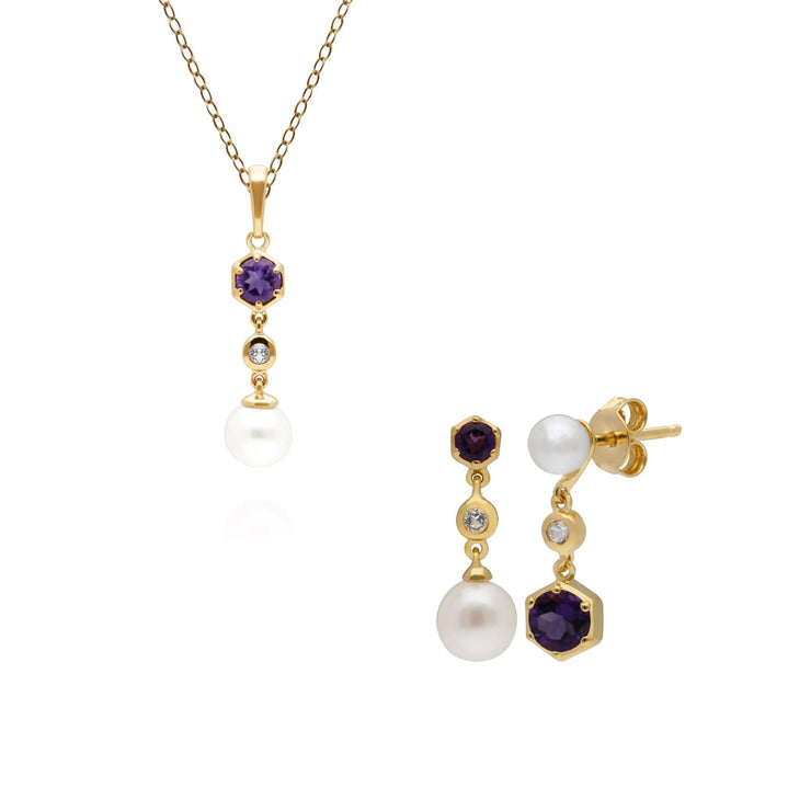 Modern Pearl, Topaz & Amethyst Pendant & Earring Set in Gold Plated Sterling Silver