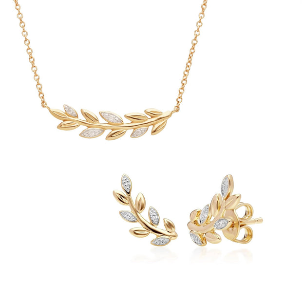 O Leaf Diamond Necklace and Stud Earring Set in 9ct Yellow Gold