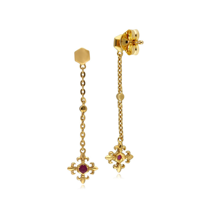 ECFEW™ Ruby Fleur De Lis Dangle Drop Earrings