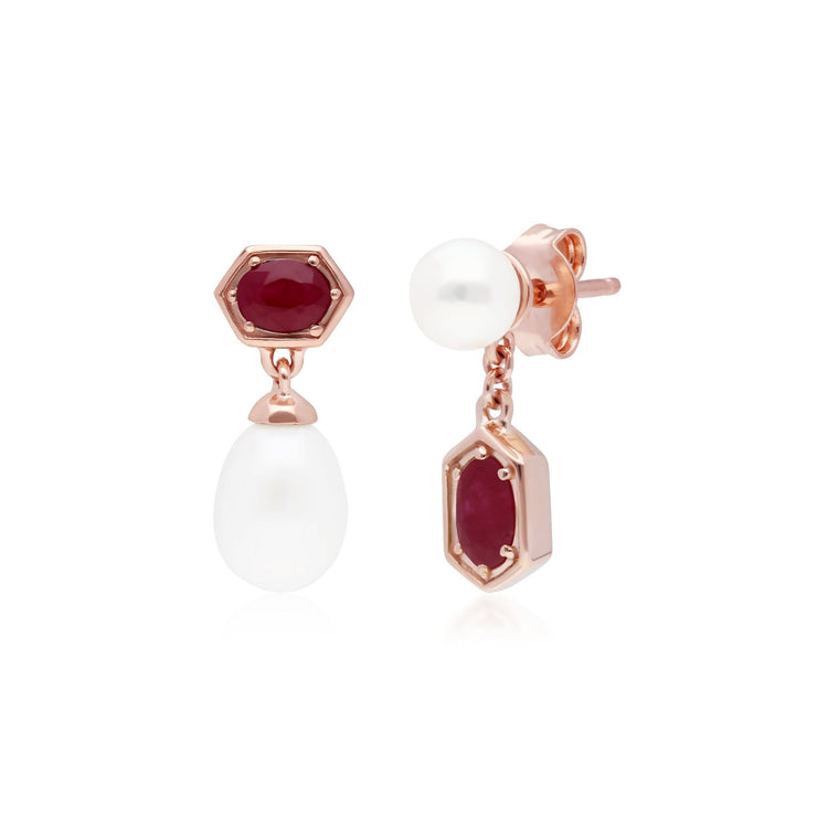 Modern Pearl & Ruby Mismatched Drop Earrings in Rose Gold Plated Sterling Silver
