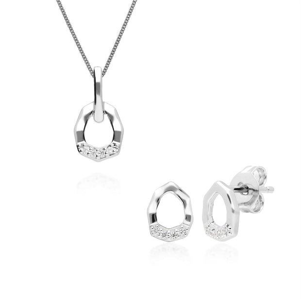 Diamond Pave Asymmetrical Pendant & Earring Set in 9ct White Gold