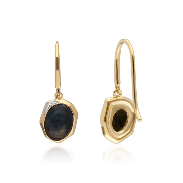 Irregular B Gem Labradorite & Diamond Drop Earrings in Gold Plated Sterling Silver