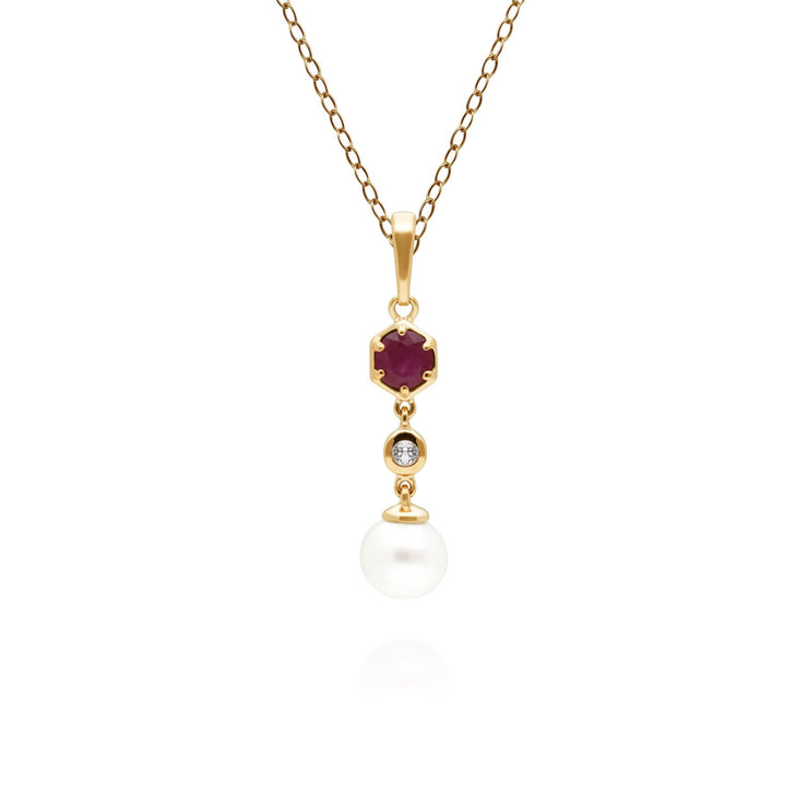 Modern Pearl, Ruby & Topaz Drop Pendant in Gold Plated Sterling Silver