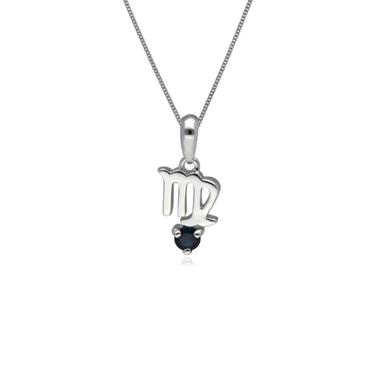 Sapphire Virgo Zodiac Charm Necklace in 9ct White Gold