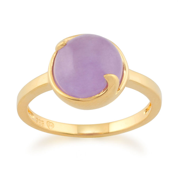 Lavender Jade 'Vita' Pastel Ring in 9ct Yellow Gold Plated Sterling Silver