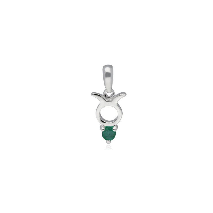 Emerald Taurus Zodiac Charm Necklace in 9ct White Gold