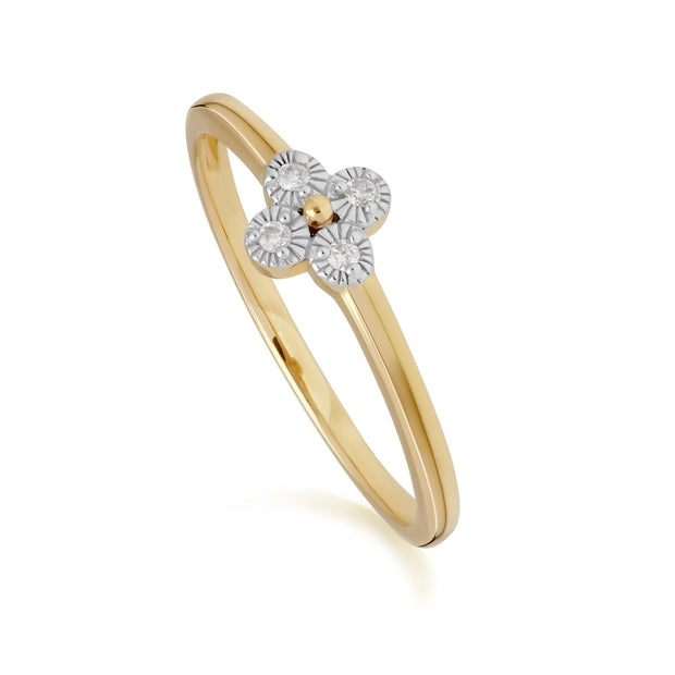 Diamond Flowers Ring in 9ct Yellow Gold
