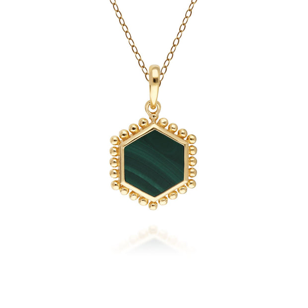 Malachite Flat Slice Hex Pendant in Gold Plated Sterling Silver