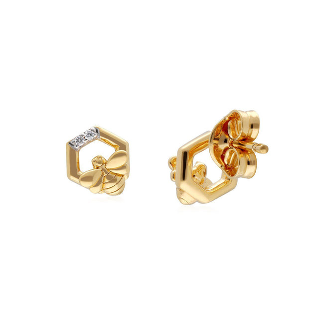 Honeycomb Inspired Diamond Hexagon Bee Earrings in 9ct Yellow Gold