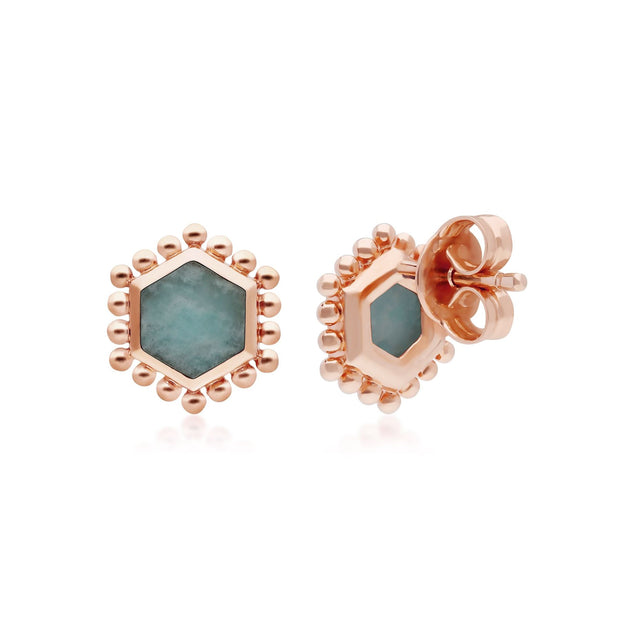 Amazonite Flat Slice Hex Stud Earrings in Rose Gold Plated Sterling Silver