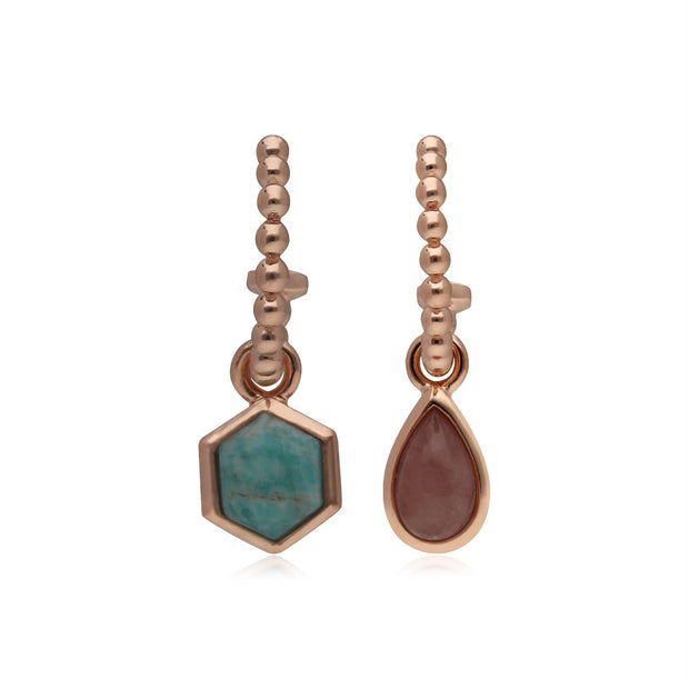 Micro Statement Rhodochrosite & Amazonite Mismatched Hoop Earrings in Rose Gold Plated 925 Sterling Silver