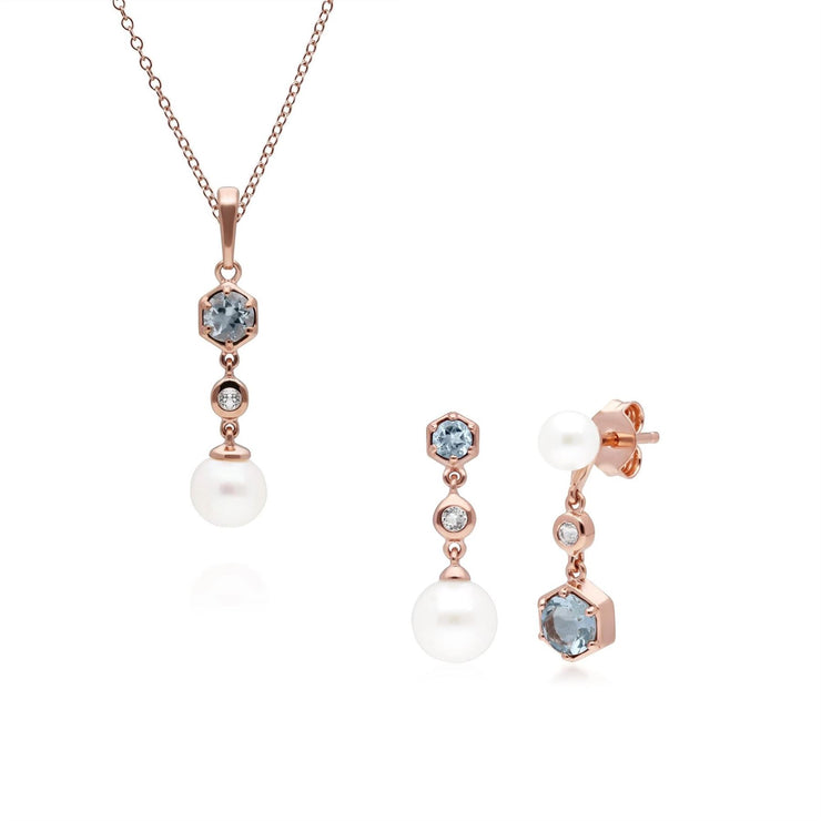Modern Pearl, Aquamarine & Topaz Pendant & Earring Set in Rose Gold Plated Sterling Silver
