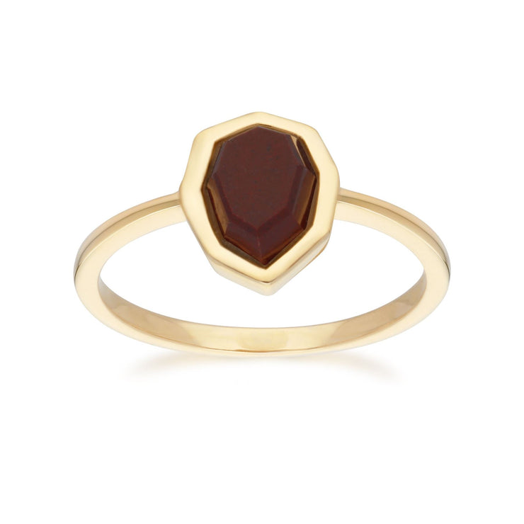 Irregular B Gem Red Jasper Ring in Gold Plated Sterling Silver