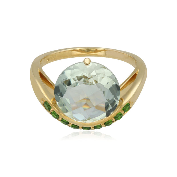Kosmos Green Mint Quartz & Chrome Diopside Cocktail Ring in 9ct Yellow Gold