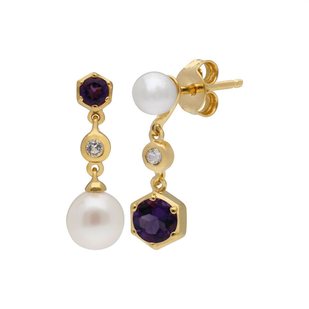 Modern Pearl, Amethyst & Topaz Mismatched Drop Earrings in Gold Plated Sterling Silver
