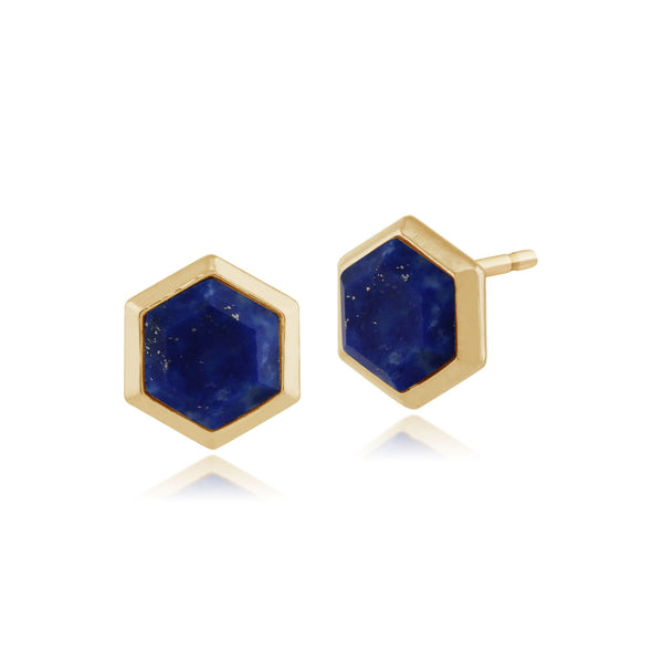 Geometric Hexagon Lapis Lazuli Prism Stud Earrings in Gold Plated 925 Sterling Silver