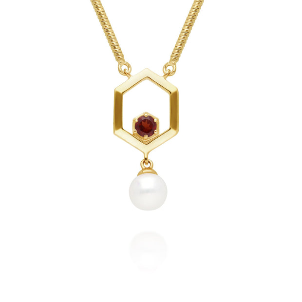 Modern Pearl & Garnet Hexagon Drop Necklace in Gold Plated Sterling Silver