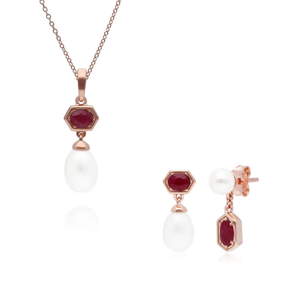 Modern Pearl & Ruby Pendant & Earring Set in Rose Gold Plated Sterling Silver