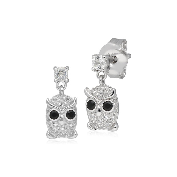 Garden Inspired Spinel & Clear Topaz Owl Stud Earrings