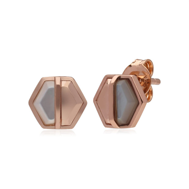 Micro Statement Mother of Pearl Hexagon Stud Earrings in Rose Gold Plated 925 Sterling Silver