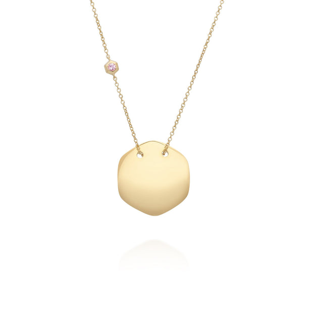 Morganite Engravable Necklace in Yellow Gold Plated Sterling Silver