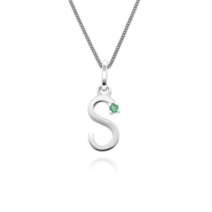 Initial S Emerald Letter Charm Necklace in 9ct White Gold