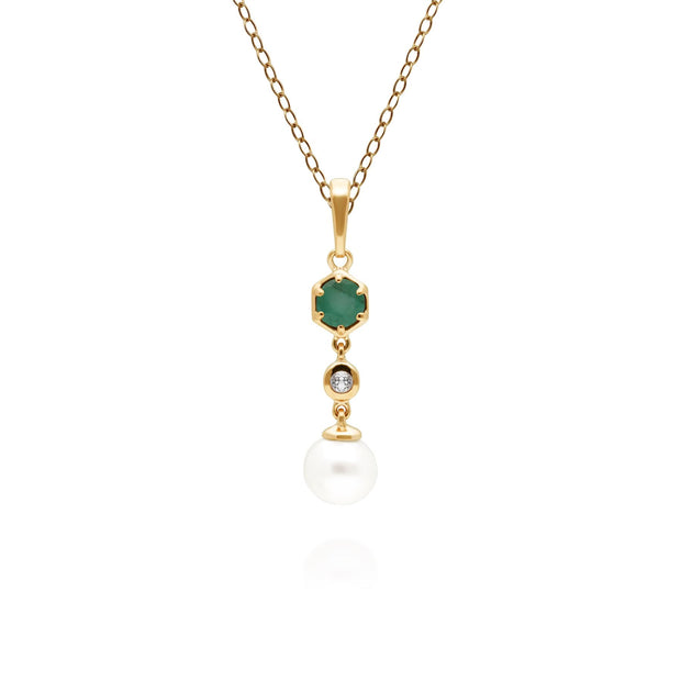 Modern Pearl, Emerald & Topaz Drop Pendant in Gold Plated Sterling Silver