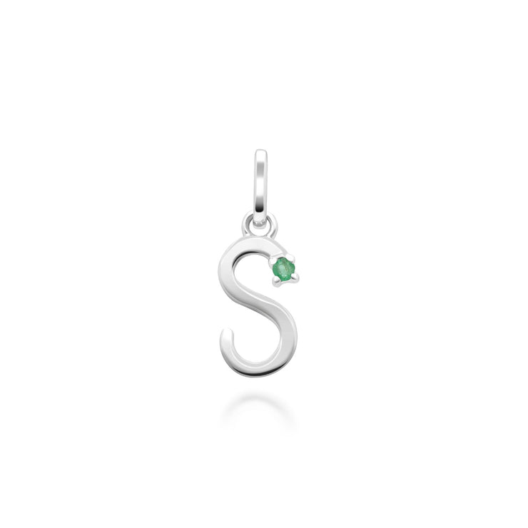 Initial S Emerald Letter Necklace in 9ct White Gold