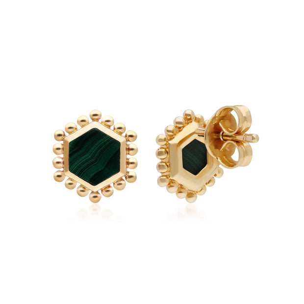 Malachite Flat Slice Stud Earrings in Gold Plated Sterling Silver