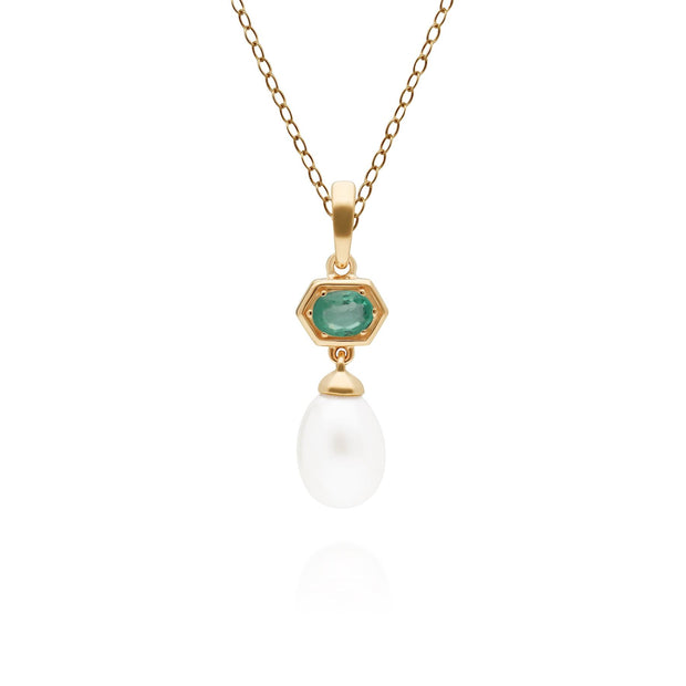 Modern Pearl & Emerald Hexagon Drop Pendant in Gold Plated Sterling Silver