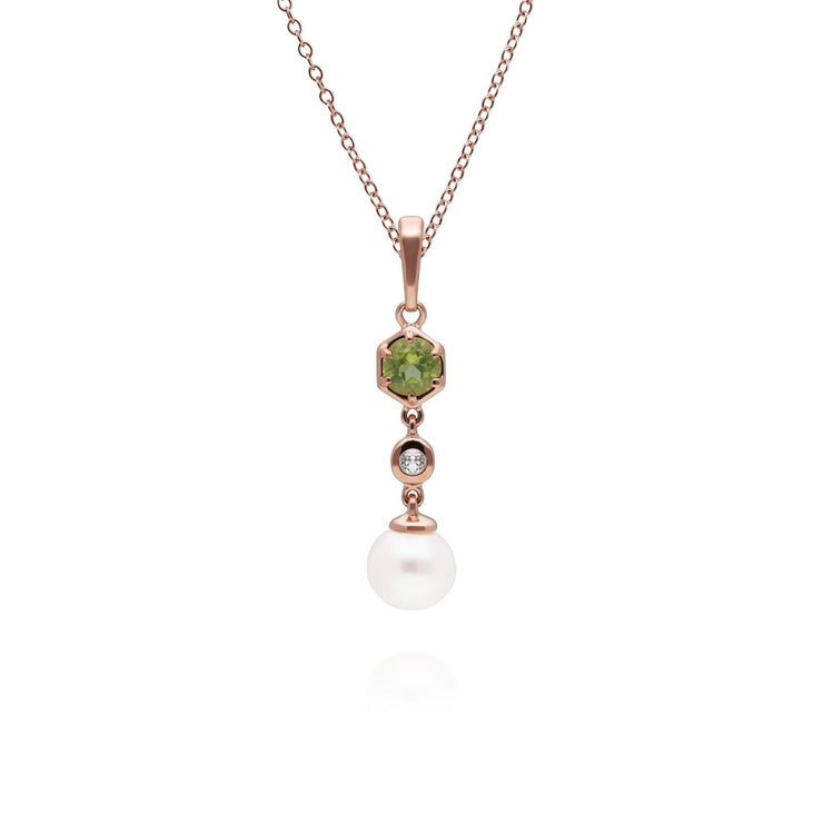 Modern Pearl, Peridot & Topaz Drop Pendant in Gold Plated Sterling Silver