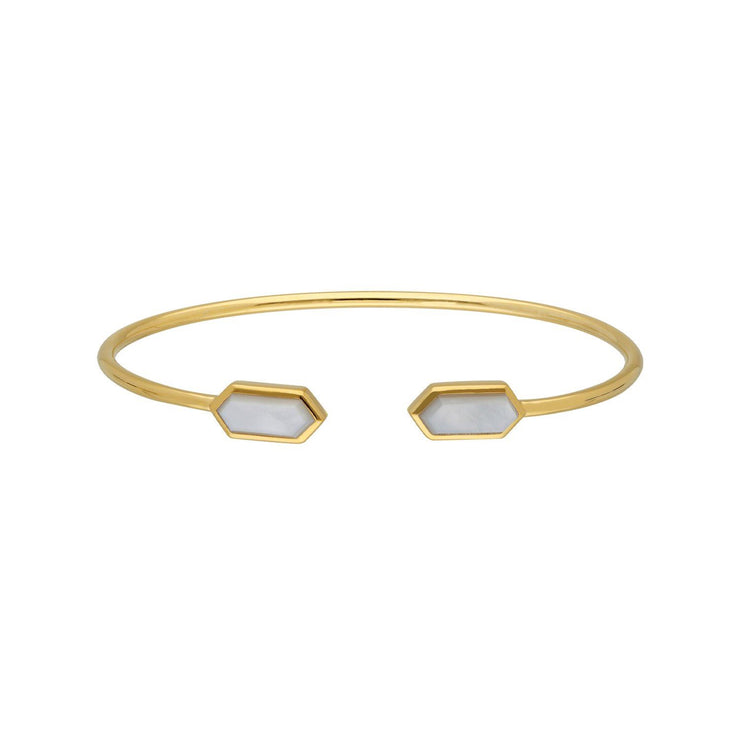 Geometric Mother of Pearl Open Bangle in Gold Plated Sterling Silver